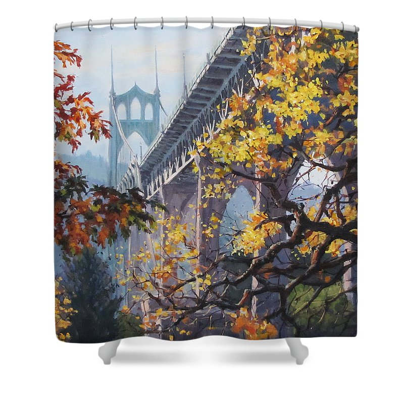 Portland Shower Curtain featuring the painting Fall St Johns by Karen Ilari