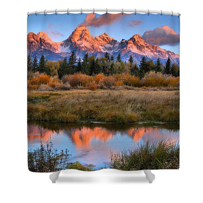 Teton Sunrise Shower Curtain featuring the photograph Fall Teton Tip Reflections by Adam Jewell