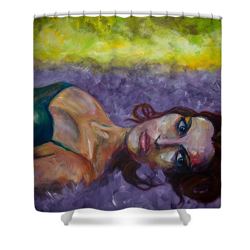 Expressive Shower Curtain featuring the painting Fallen by Jason Reinhardt