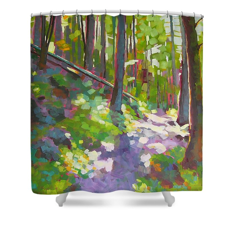 Landscape Shower Curtain featuring the painting Fallen Log by Mary McInnis