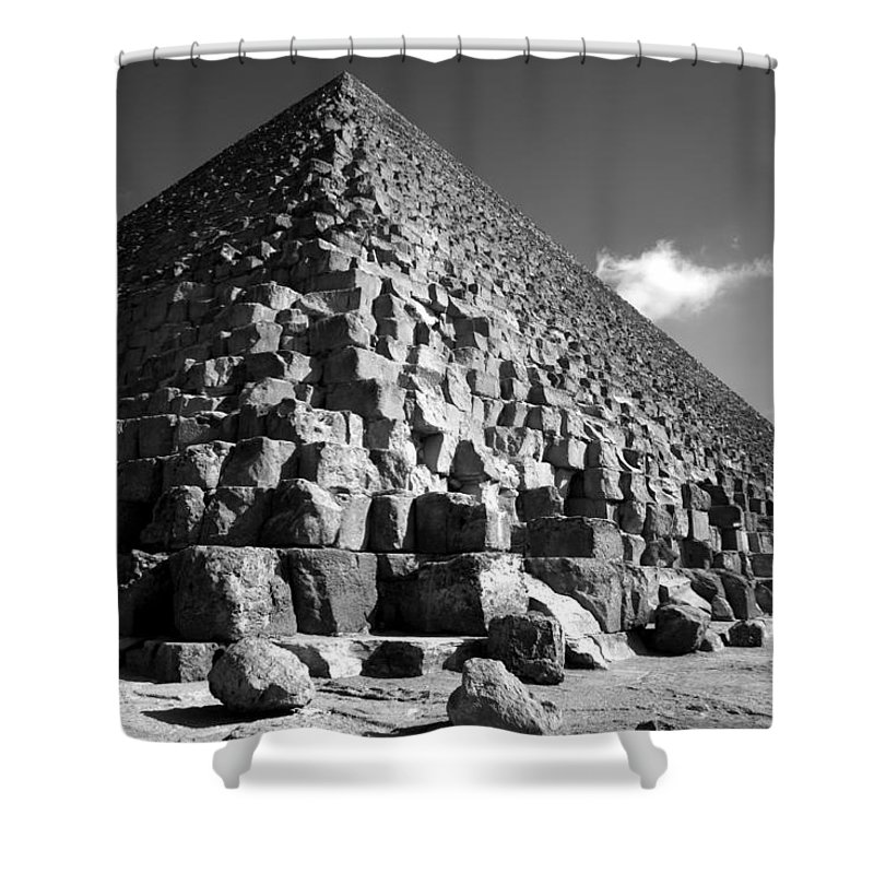 Fallen Stones Shower Curtain featuring the photograph Fallen Stones At The Pyramid by Donna Corless