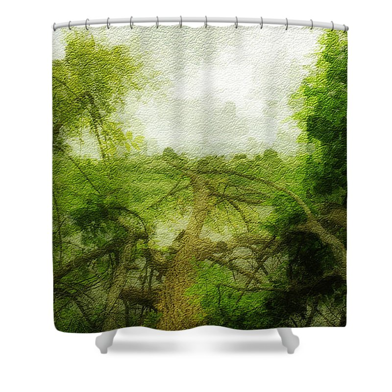 River Shower Curtain featuring the photograph Fallen Tree by Eric Wait