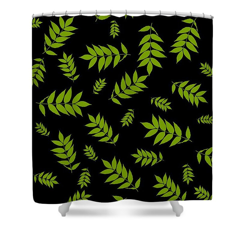 Falling Ash Leaves Shower Curtain featuring the digital art Falling Ash Leaves by Nelma Grace Higgins