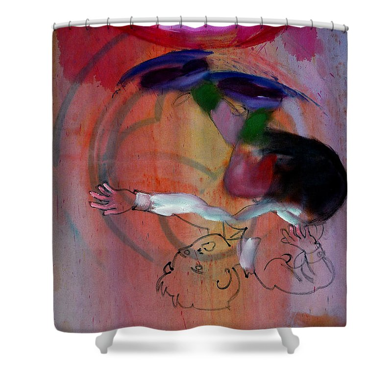 Fall Shower Curtain featuring the painting Falling Boy by Charles Stuart