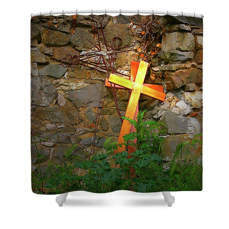 Shower Curtain featuring the photograph Falling Crosses by Angela Wright