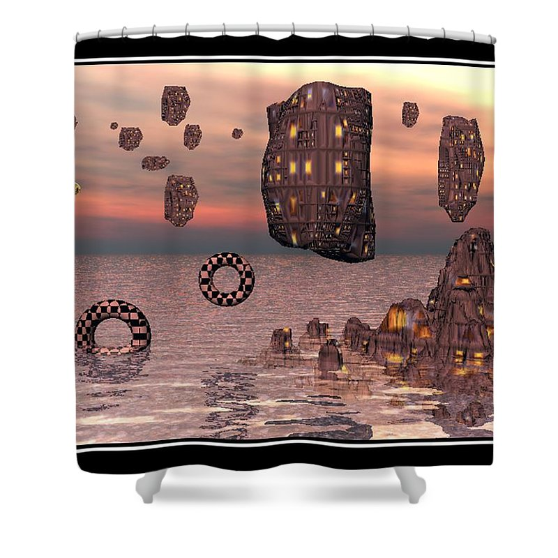 Falling Down Surreal Art Image Color Print Poster Canvas Original New Best William Ballester Abstract Landscapes Canvas Prints Shower Curtain featuring the digital art Falling Down by William Ballester