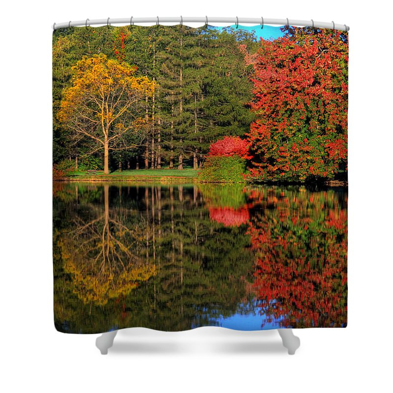 Fall Shower Curtain featuring the photograph Falloneous Assault by John Absher