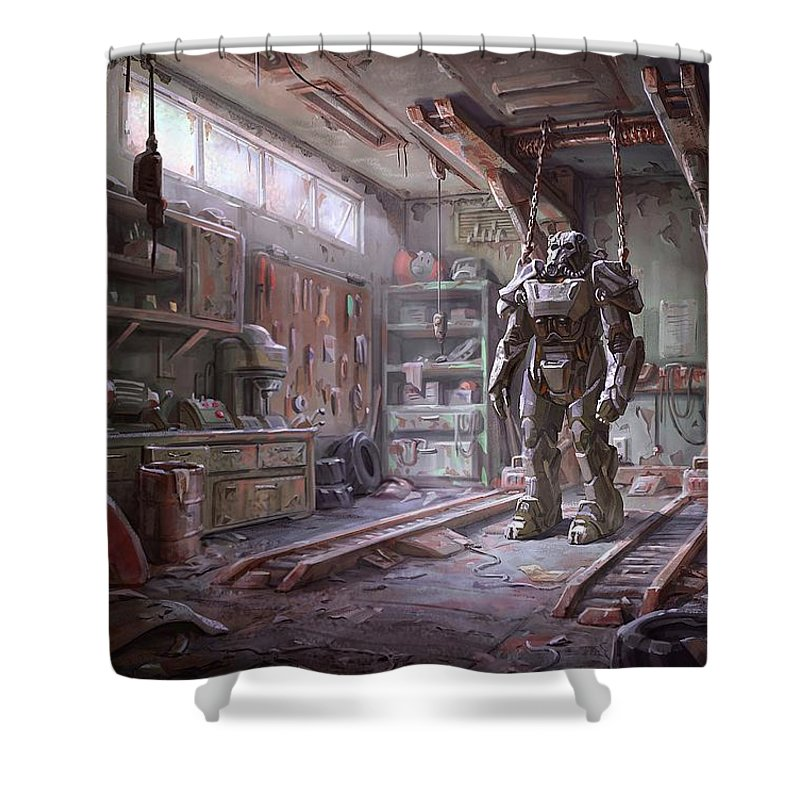 Fallout Shower Curtain Featuring The Digital Art 4 Armour By Movie Poster Prints