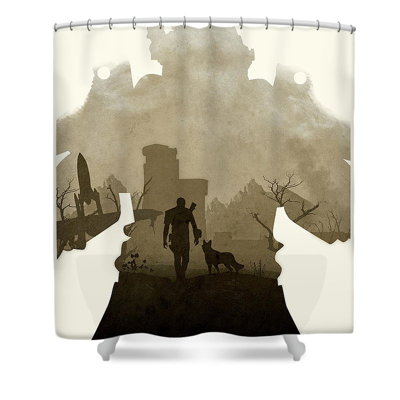 Fallout Shower Curtain Featuring The Digital Art 4 II By Ripley