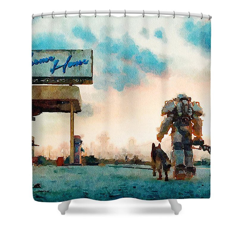 Printables Shower Curtain Featuring The Digital Art Fallout Print Watercolor Room Interior