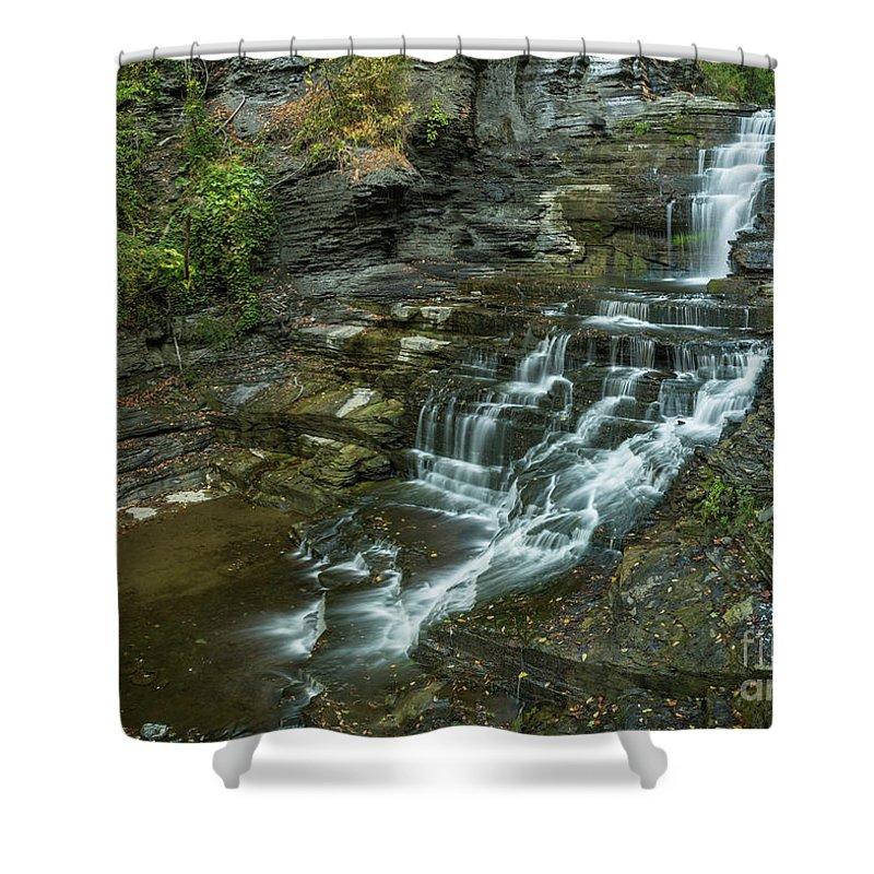 New York Shower Curtain featuring the photograph Falls Creek Gorge Trail by Karen Jorstad