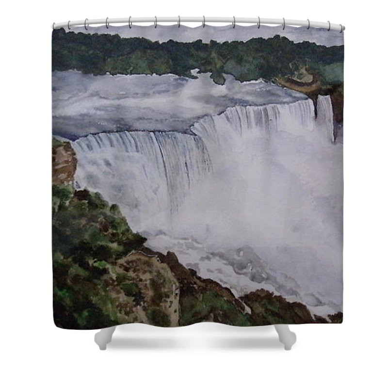 Water Falls Shower Curtain featuring the painting Falls by Tanuja Munakala