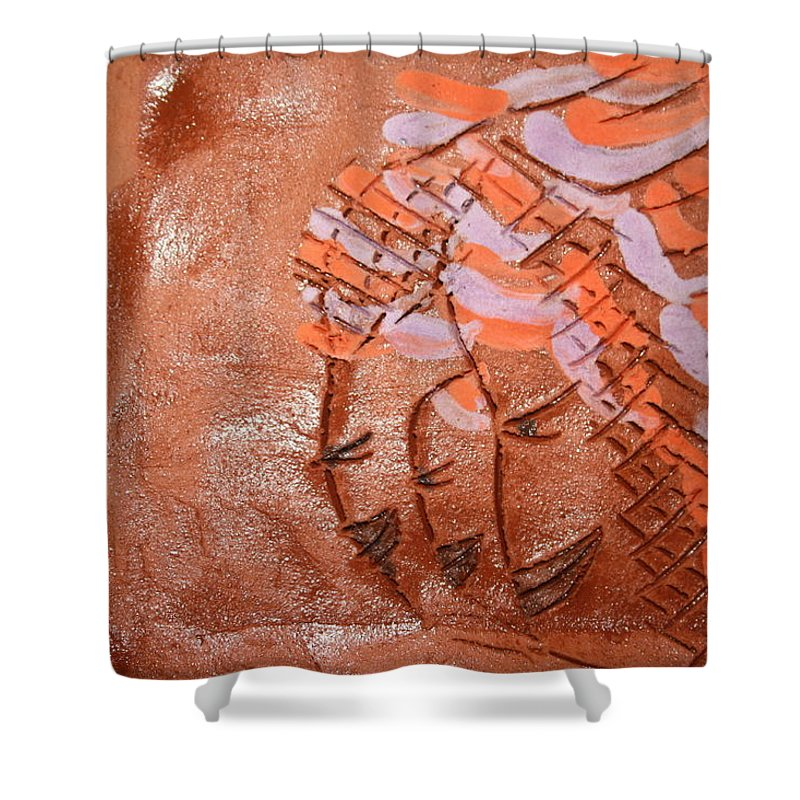 Jesus Shower Curtain featuring the ceramic art Family 10 - Tile by Gloria Ssali