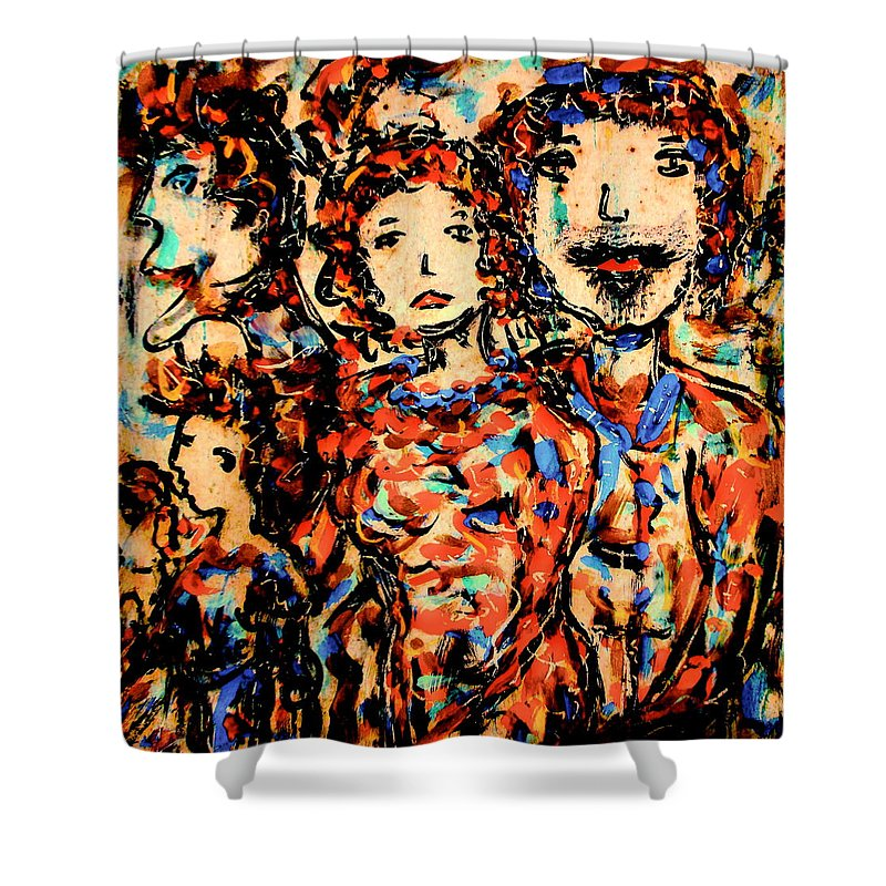 Figurative Art Shower Curtain featuring the painting Family And Friends by Natalie Holland