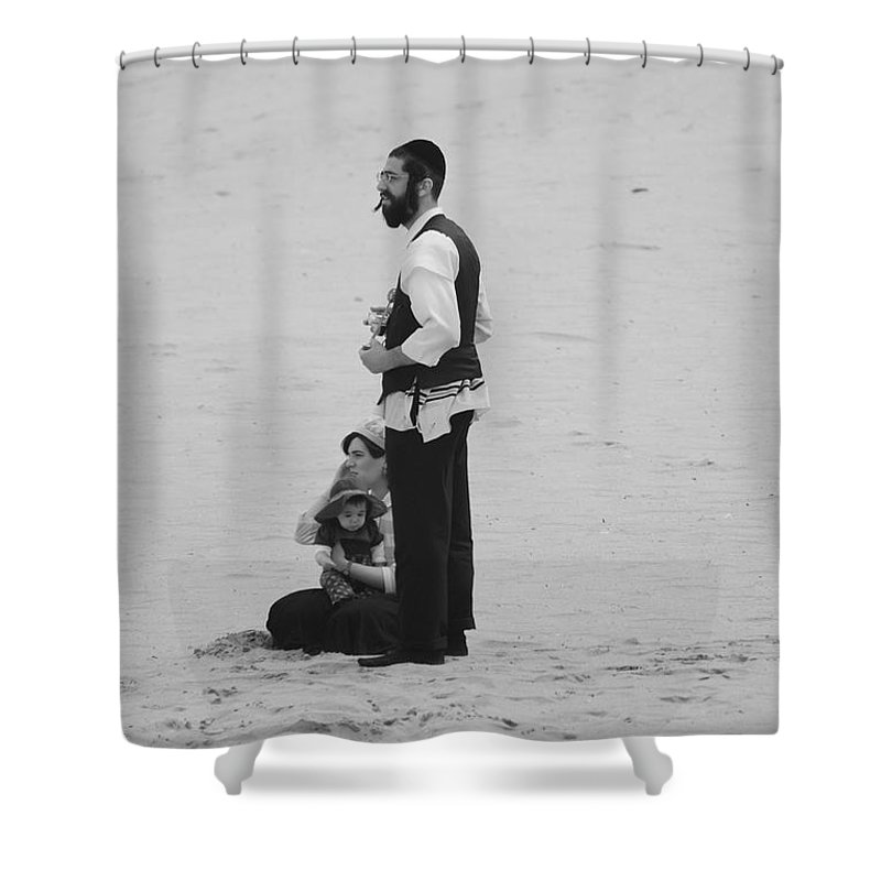 Black And White Shower Curtain featuring the photograph Family Beach Day by Rob Hans