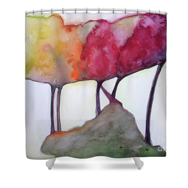 Landscape Shower Curtain featuring the painting Family Connected by Vesna Antic