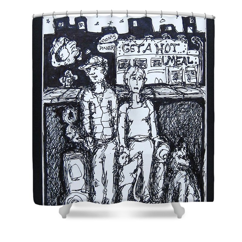 Family Homeless Shower Curtain featuring the drawing Family Dog by Todd Artist