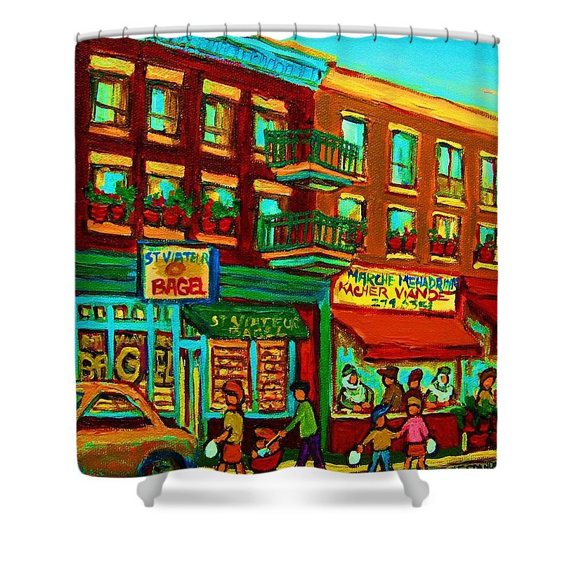 St Viateur Bagel Shop Montreal Street Scenes Shower Curtain featuring the painting Family Frolic On St.viateur Street by Carole Spandau