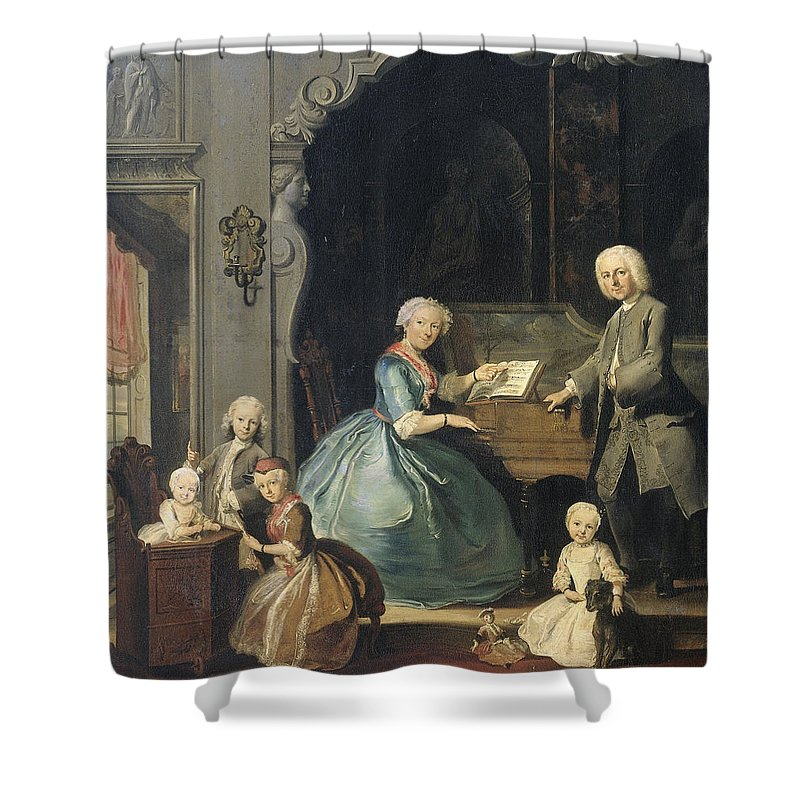 Painting Shower Curtain featuring the painting Family Group Near A Harpsichord, 1739 by Cornelis Troost