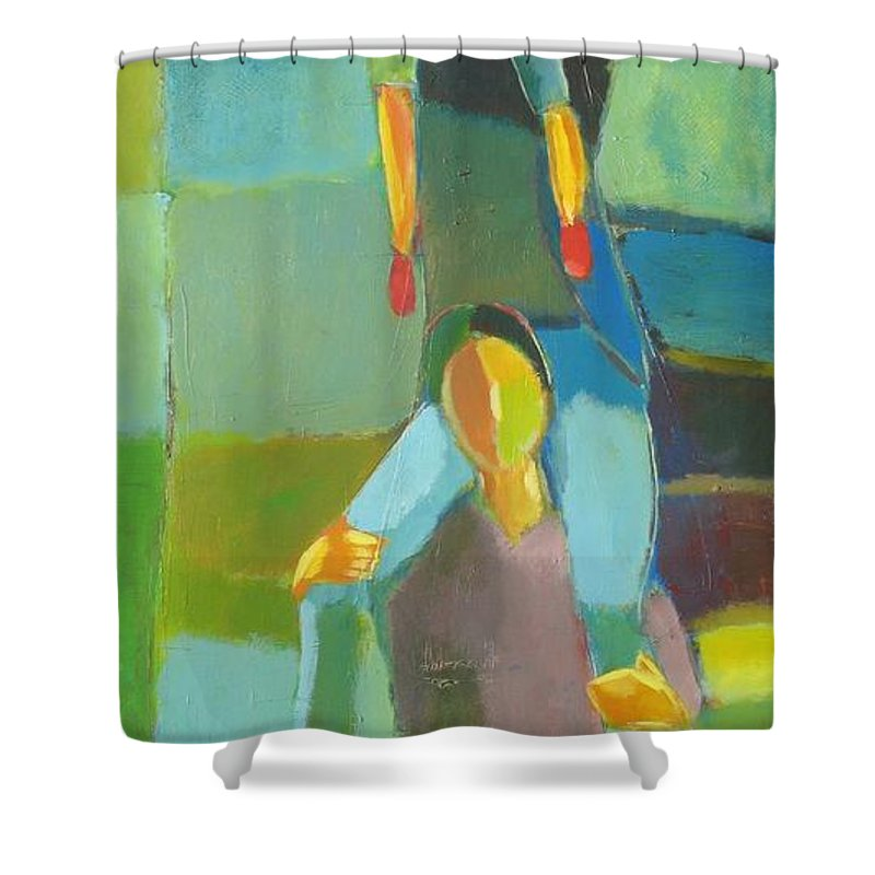 Abstract Shower Curtain featuring the painting Family Joy by Habib Ayat