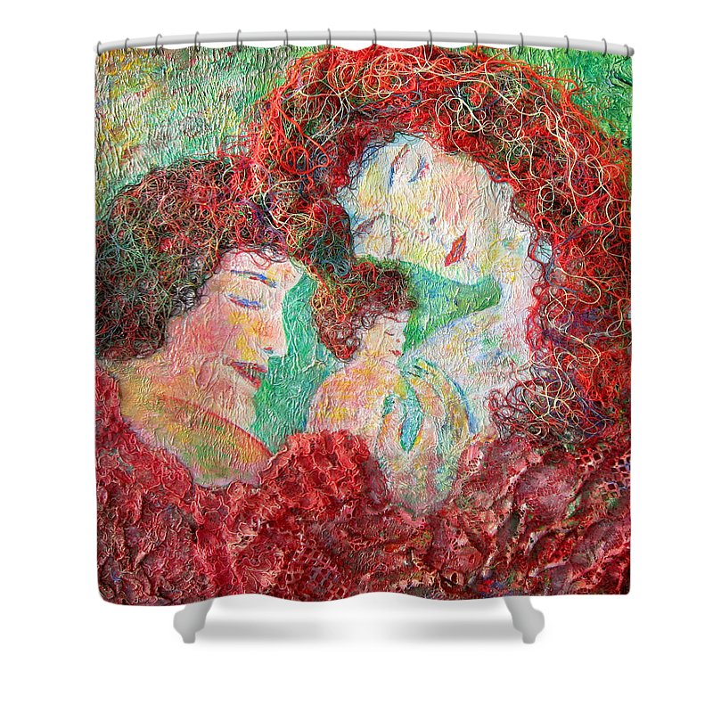 Mother Shower Curtain featuring the painting Family Safety by Naomi Gerrard