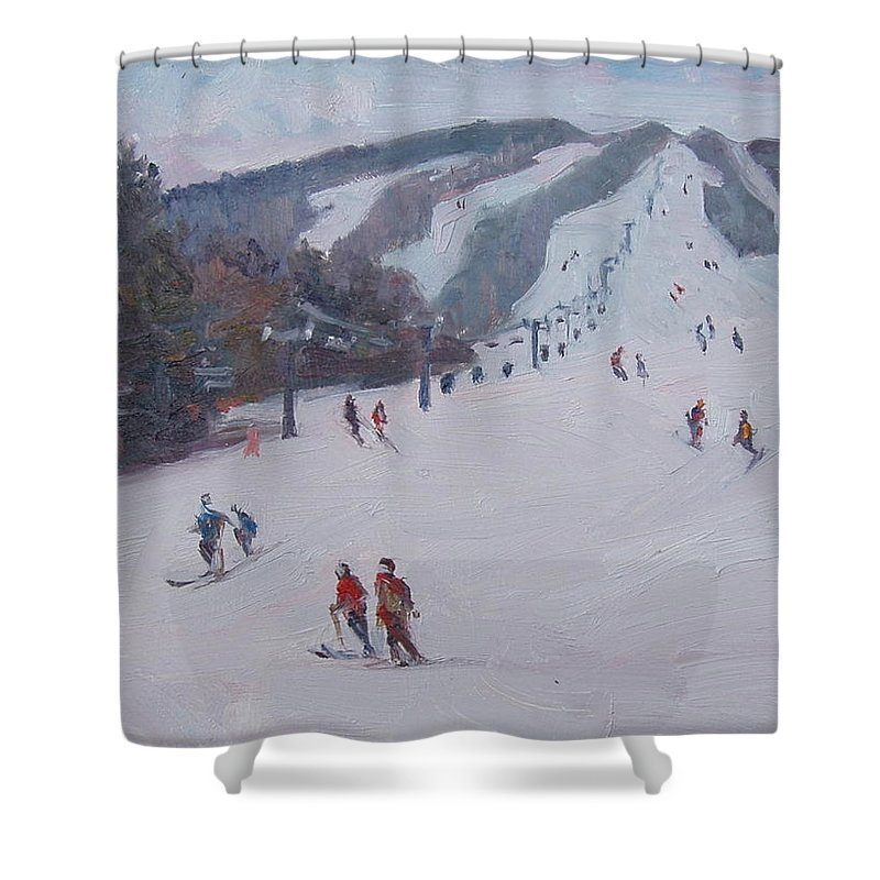 Landscape Shower Curtain featuring the painting Family Ski by Dianne Panarelli Miller