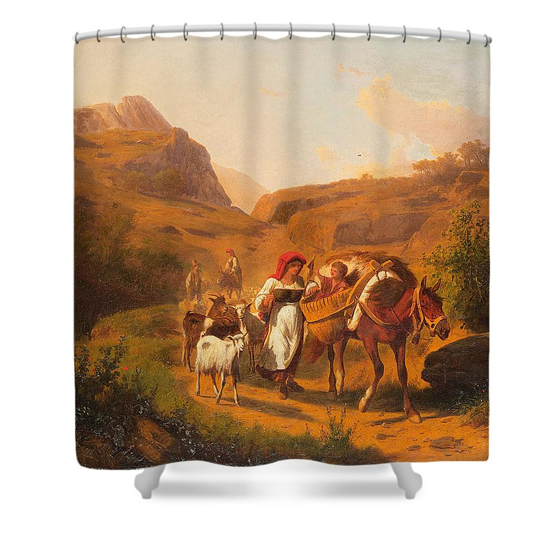 Andrea Mark� Vienna 1824 - Villa Tivoli 1895 Peasants Family With Animals In The Roman Countryside Shower Curtain featuring the painting Family With Animals by MotionAge Designs