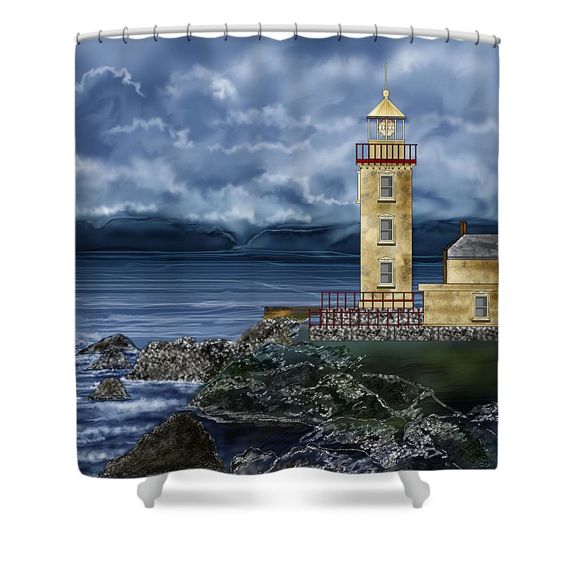 Lighthouse Shower Curtain featuring the painting Fanad Head Lighthouse Ireland by Anne Norskog