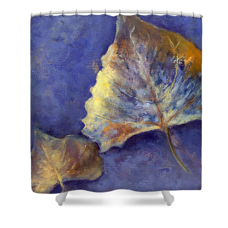Leaves Shower Curtain featuring the painting Fanciful Leaves by Chris Neil Smith