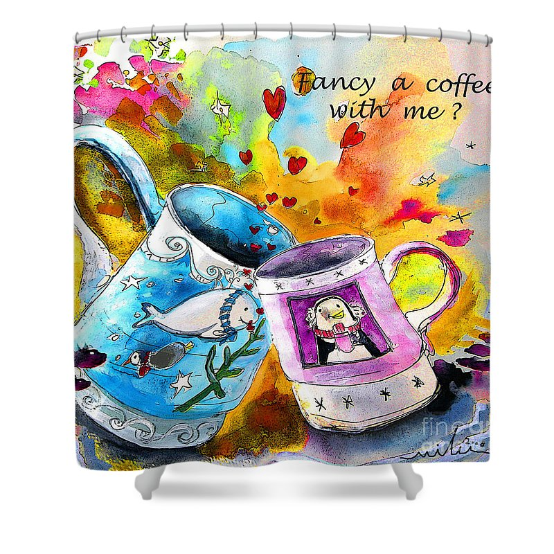 Cafe Crem Shower Curtain featuring the painting Fancy A Coffee by Miki De Goodaboom