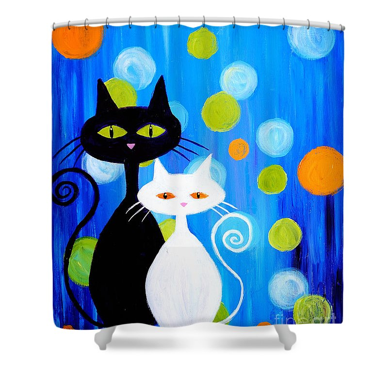Cats Shower Curtain Featuring The Painting Fancy Cats By Art By Danielle