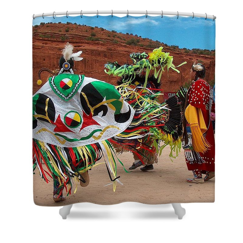 Fancy Shawl Dancer Shower Curtain featuring the photograph Fancy Shawl Dancer At Star Feather Pow-wow by Tim McCarthy