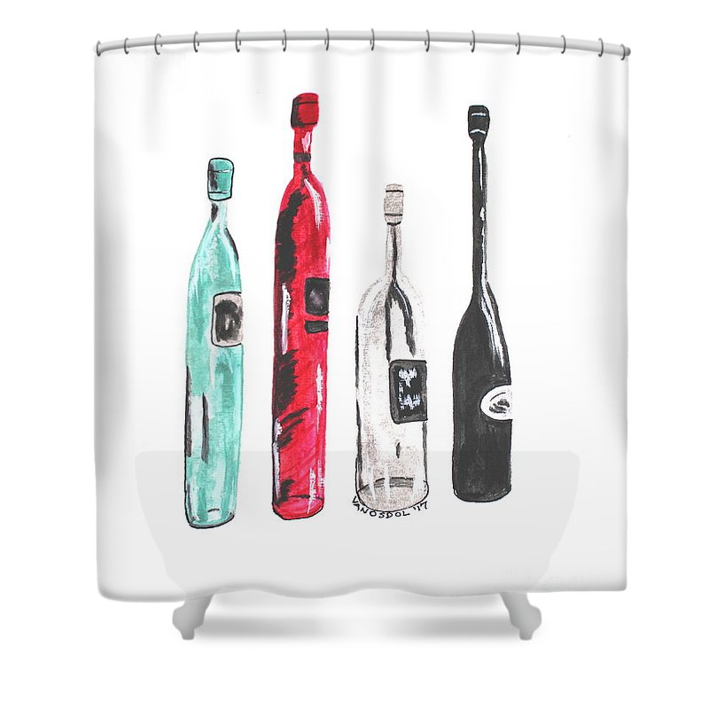 Wine Shower Curtain Featuring The Painting Fancy Bottles