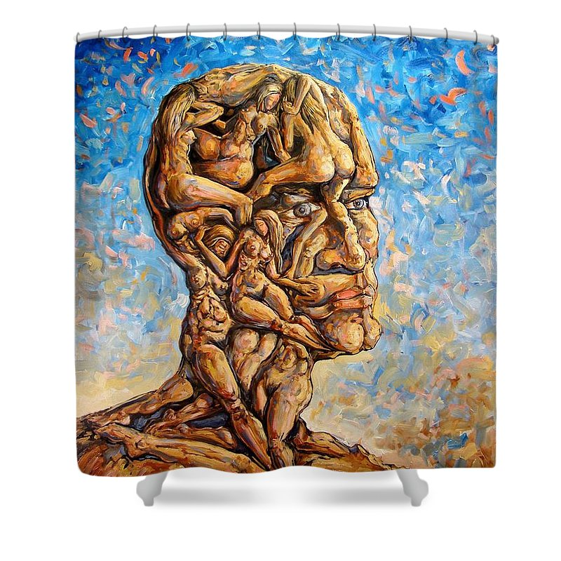 Surrealism Shower Curtain featuring the painting Fantasies Of A 120 Years Old Man Struggling To Survive by Darwin Leon