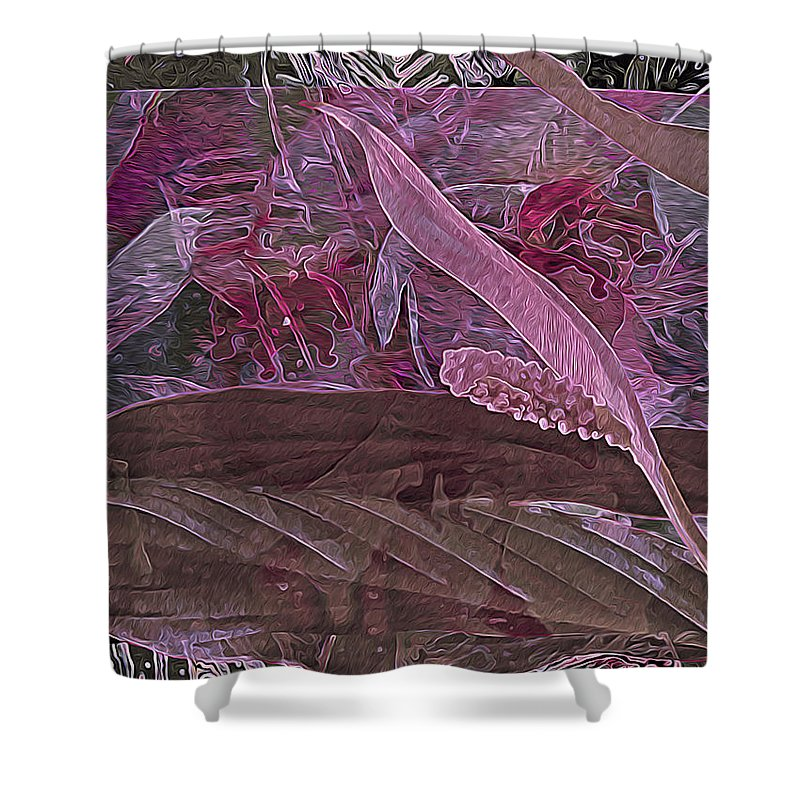 Floral Shower Curtain featuring the digital art Fantasy African Violets And Peace Lily Pink, Red And Pink by Lynda Lehmann