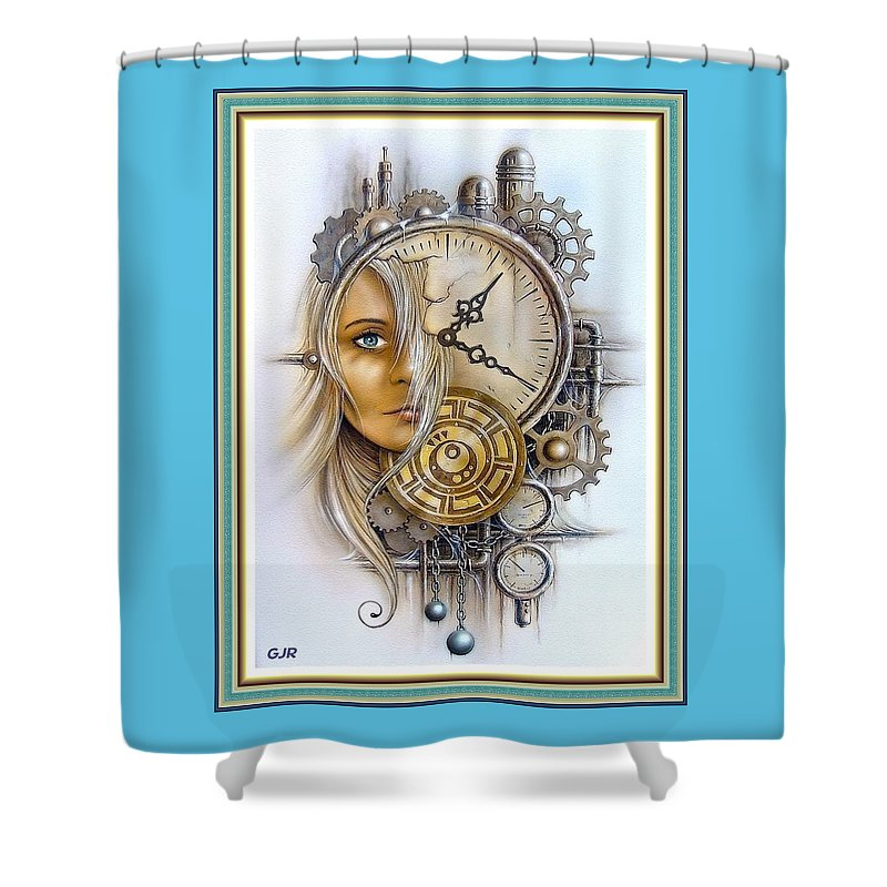 Fantasy Art Shower Curtain featuring the digital art Fantasy Art - Time Encaptulata For A Woman's Face, Clock, Gears And More. L A S With Ornate Frame. by Gert J Rheeders
