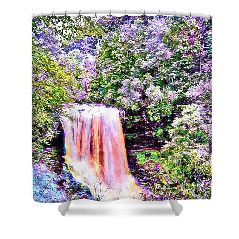 Waterfalls Shower Curtain featuring the digital art Fantasy Falls by John Haldane