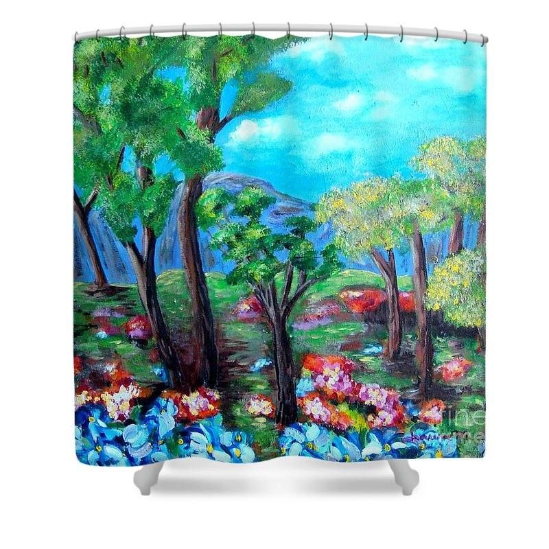 Fantasy Shower Curtain featuring the painting Fantasy Forest by Laurie Morgan