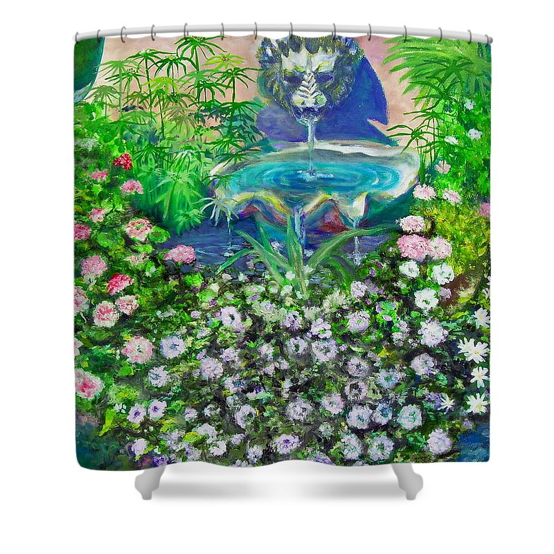 Fountain Shower Curtain featuring the painting Fantasy Fountain by Michael Durst