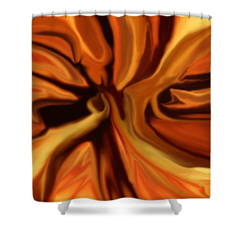 Abstract Shower Curtain featuring the digital art Fantasy In Orange by David Lane