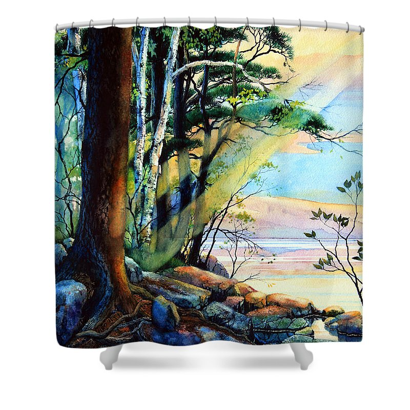 Fantasy Island Art Shower Curtain featuring the painting Fantasy Island by Hanne Lore Koehler