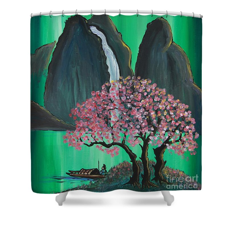 Japan Shower Curtain featuring the painting Fantasy Japan by Jacqueline Athmann