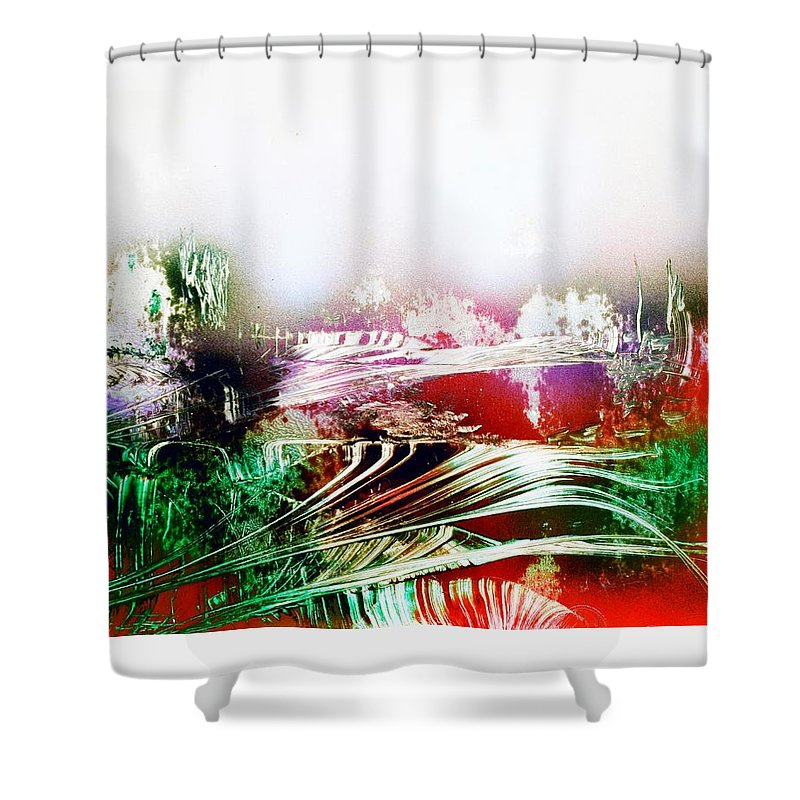 Fantasy Shower Curtain featuring the painting Fantasy Land by Nandor Molnar