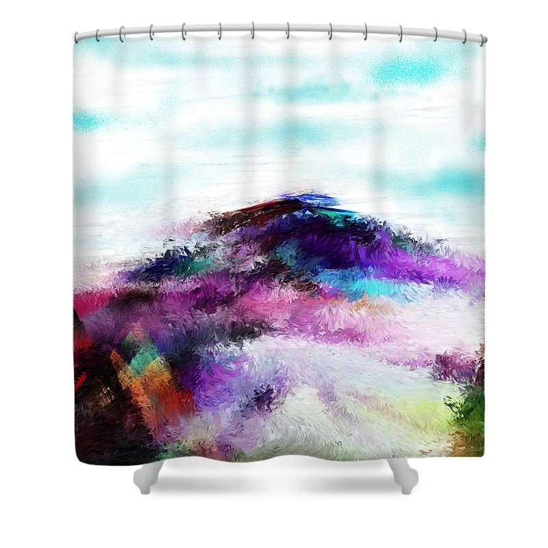 Digital Painting Shower Curtain featuring the digital art Fantasy Mountain by David Lane