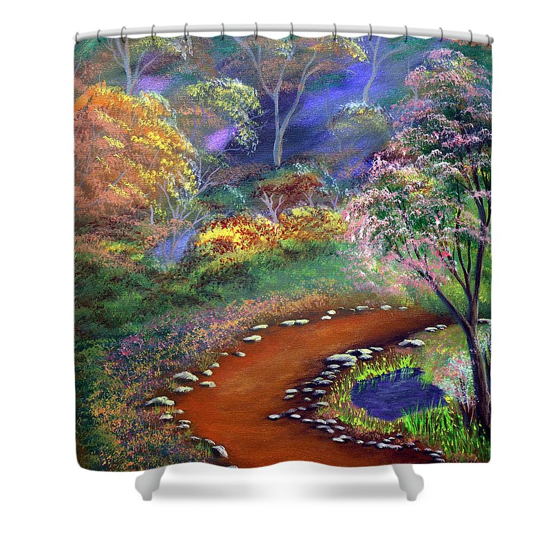 Dawn Blair Shower Curtain featuring the painting Fantasy Path by Dawn Blair