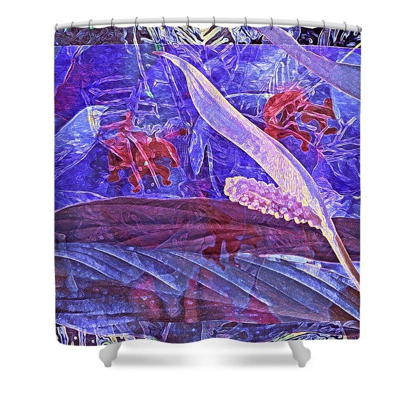Abstract Shower Curtain featuring the digital art Fantasy With African Violets And Peace Lily 46 by Lynda Lehmann