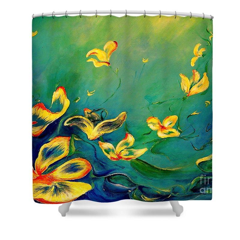 Acrylic Shower Curtain featuring the painting Fantasy World by Teresa Wegrzyn