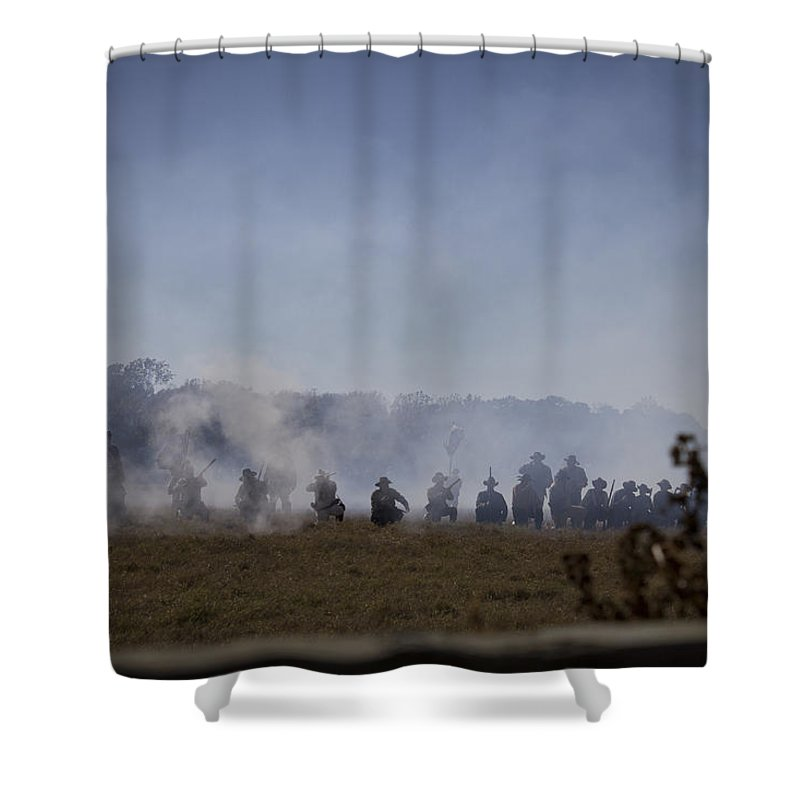 Civil War Shower Curtain featuring the photograph Far Off by Kendall Muyres
