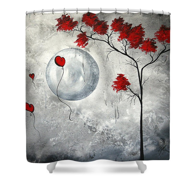 Abstract Shower Curtain featuring the painting Far Side Of The Moon By Madart by Megan Duncanson