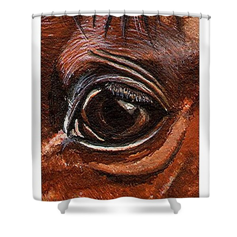 Horse Shower Curtain featuring the painting Farley Detail by Kristen Wesch